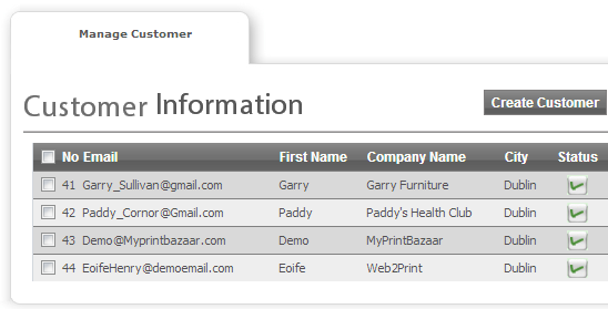 Customer and Prospect Lists - Web To Print and Print MIS Software