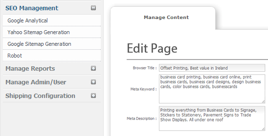 Built-in SEO - web to print Ireland and Print MIS Software